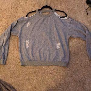 Sweaters - Gray distressed sweatshirt